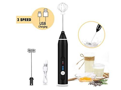 WooMax USB oplaadbare melkopschuimer Handheld elektrische schuimmaker met 2 roestvrijstalen gardes Verstelbare eiermenger met 3 snelheden voor kogelvrije koffie Keto Frappe Latte Cappuccino Warme chocolademelk