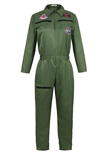 jutrisujo top Gun kostüm Damen Kampfjet Pilot Aviator Playsuit Army Armee Bundeswehr Sexy Halloween Cosplay Party Armeegrün 2XL
