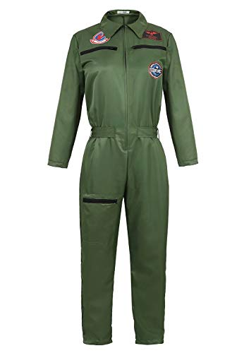 jutrisujo top Gun kostüm Damen Kampfjet Pilot Aviator Playsuit Army Armee Bundeswehr Sexy Halloween Cosplay Party Armeegrün S