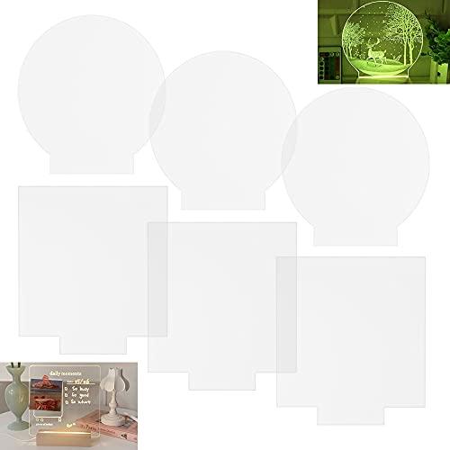 WENRERO 6 Pezzi Pannelli in Acrilico Trasparente con 3 Pannello Quadrato 15*15cm e 3 Lastra Acrilica Trasparente Rotonda 12cm per Base Luminosa a LED Segnaletica Progetti di Visualizzazione Fai-da-te