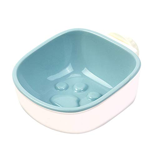 hbz11hl Interactive Cat Toys丨The Best Entertainment Exercise Gift for Your cat丨Pet Dog Cats Anti Choke Footprint Hanging Feeding Food Water Bowl Feeder Dish丨100% Cat Safety Blue Footprint Bowl