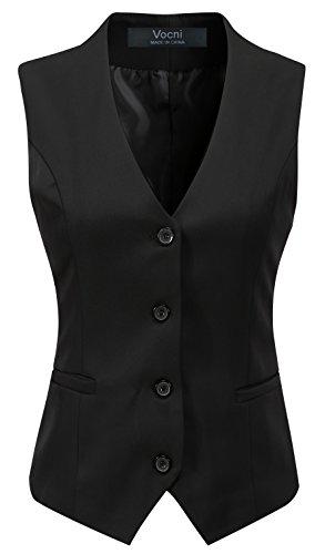 Vocni - Chaleco para mujer con 4 botones y cuello en V Negro Negro ( XXL