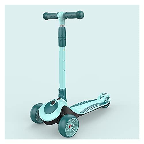 WANGYIYI Patinetes portátiles Girar Patinete Plegable Scooters para niños con Ajuste de Altura de 4 velocidades Patinete de Equilibrio de Rueda Intermitente Mudo para niños de 2 a 14 años
