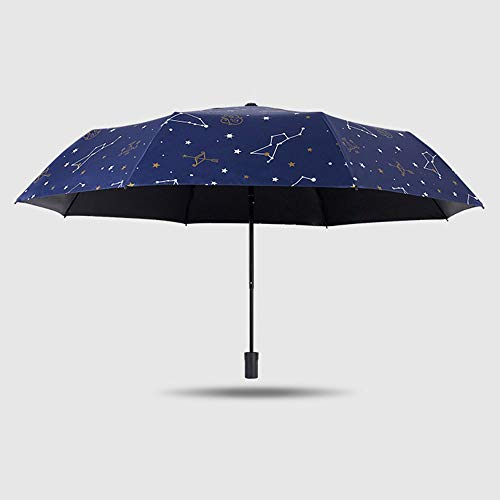 Ningz0l Regenschirm Taschenschirm Compact Umbrella Acht Knochen DREI Falten Schwarzer Kunststoff Sonnenschutz Uv Constellation Zero Light Shade Umbrella Dual-use