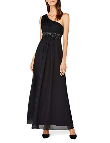 Astrapahl Damen Kleid One Shoulder mit Pailletten, Maxi, Einfarbig, Gr. 38, Schwarz