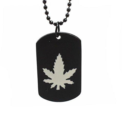 GuDeKe Collar Pendiente del Estilo del ejército de Marihuana Medicinal de la Mala Hierba de la Hoja de Cannabis Cadena de la Etiqueta para los Hombres (Blanco)