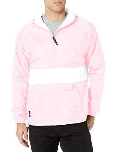 Charles River Apparel Wind & Water-Resistant Pullover Rain Jacket (Reg/Ext Sizes), Pink/White, S