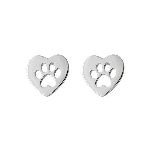 Selia Origami Herz Pfoten Ohrring Hund Ohrstecker Dog minimalistisch glänzende Optik handgemacht (Silber)
