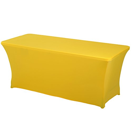 HAORUI Rectangular Spandex Table Cover (6 ft. Canary Yellow)