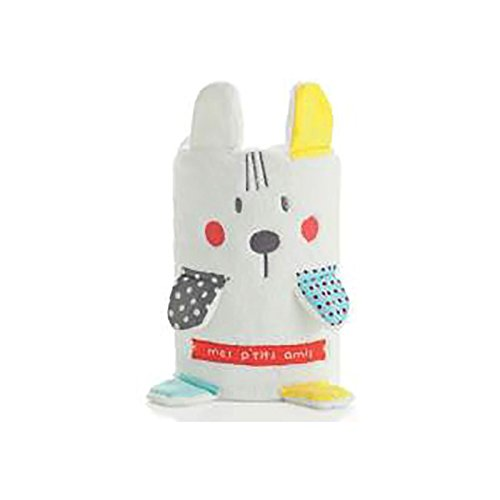 pirulos 86211720 – Couverture Toy, microfibre 80 x 90, lapin, blanc et gris