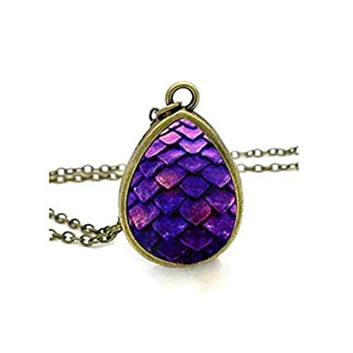 Youkeshan Collar de huevo de dragón púrpura Juego de Tronos lágrima colgante joyería vintage vidrio foto collares regalos hombres