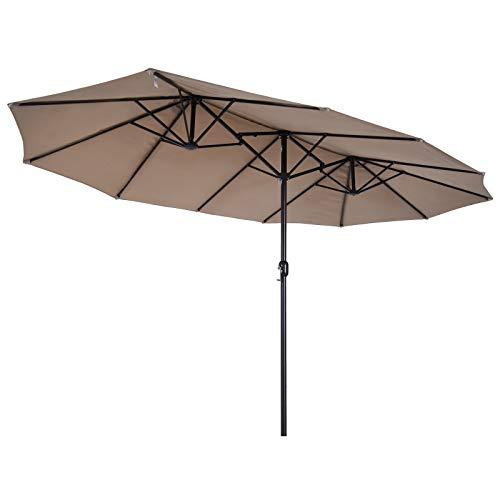 Outsunny Parasol de Jardin XXL Parasol Grande Taille 4,6L x 2,7l x 2,4H cm Ouverture Fermeture manivelle Acier Polyester Haute densité Marron