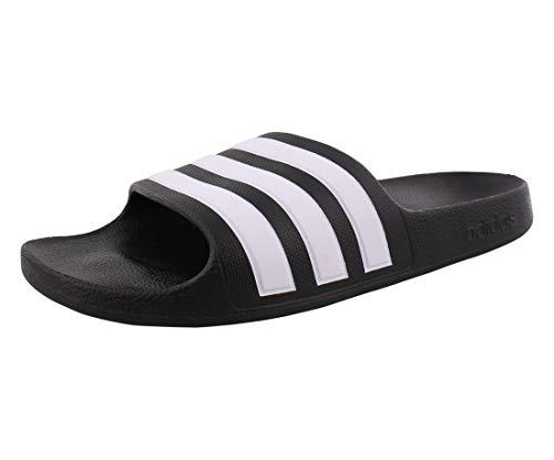 adidas unisex child Adilette Aqua Water Shoe, Core Black/White/Core Black, 1-13 Big Kid US