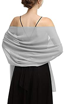 Shawls Scarves Wraps For Dresses Soft Chiffon Scarf Wedding Stole For women  Grey Length 79   Width 19