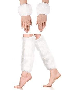 2 Pairs Faux Fur Cuffs Furry Long Leg Warmer Wrist Cuff Warmer Boot Cuff  White