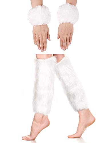 2 Pairs Faux Fur Cuffs Furry Long Leg Warmer Wrist Cuff Warmer Boot Cuff (White)