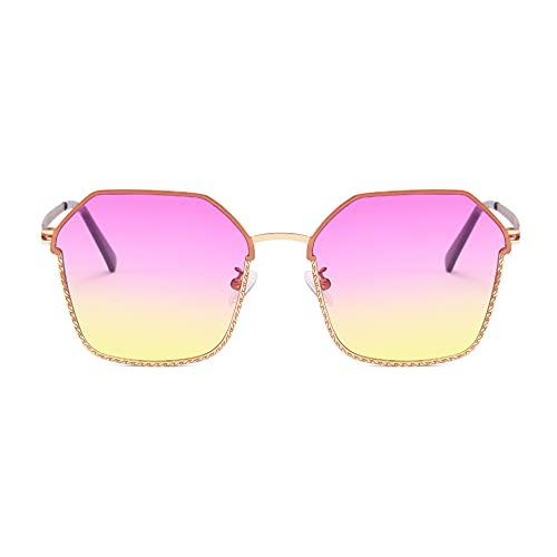 XINMAN Trend Street Style Sunshade Gafas de sol de moda Personalidad a prueba de viento Gafas de sol Metal Ocean Film Gafas de sol marco dorado Top rosa y amarillo