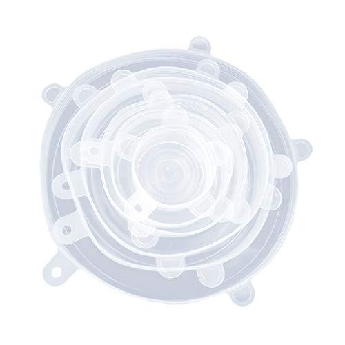Guangcailun 6pcs / Set de Cocina de Silicona Estiramiento Tapas de Cierre hermético de Almacenamiento de Alimentos s Varios Sello de tamaños de Taza elástico Wrap