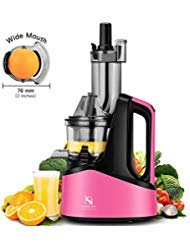 Slow Juicer Machine, Wide Chute Masticating Juicer Extractor for Higher Nutrient and Vitamins, Easy to Clean Cold Press Juicer for All Fruits and Vegetables, Pink