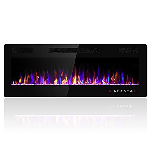 Electactic 50 inches Electric Fireplace Recessed and Wall Mounted Electric Fireplace, Fireplace Heater and Linear Fireplace, with Timer, Remote Control, Adjustable Flame Color, 750w/1500w, Black