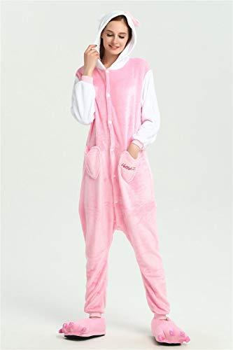 YYYSHOPP Conjunto de pijamas de animales para adultos, diseño de panda de dibujos animados para mujeres y hombres, unisex, de punto de franela, para dormir, color blanco, talla L: