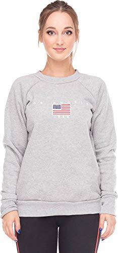 Sweatshirt Pullover Los Angeles Pulli Damen USA Sweater Flagge Frontprint AmerikaTop Oberteil US Fahne LA Hellgrau S/M