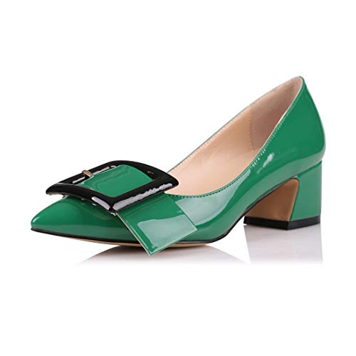 Eldof Pointed Toe Pumps,Classy 2 Inches Block Heel Chic Pumps, Confort Buckle Heel for Office Wedding Dress Green US 8