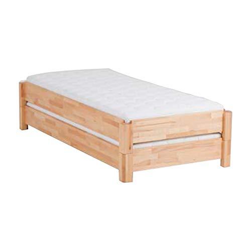 DICO 2er Stapelbett Massivholz mit Rollrost Größe 90x200 cm 03 Buche weiß lackiert