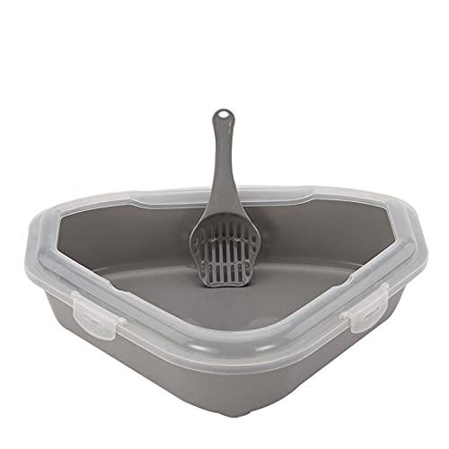 EVFIT Bandeja Littler Box Caja de Arena Grande de no Palo, Recubrimiento sin paletas para Mascotas para una Limpieza más fácil y una higiene Superior (Color : Grey, Size : 50x13x39cm)