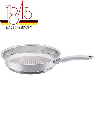 Fissler crispy steelux premium / Sartén de acero inoxidable (Ø 28 cm) Sartén sin revestimiento, fritura baja en grasa - todos los tipos de estufas también de inducción