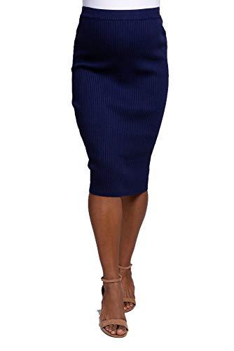 Mooie Mode Geribbelde Potlood Rok met Afzonderlijke Elastische Taille Dames Midi Lengte Rok Ongeveer 25 Inch Knielengte Dames Rok Meerdere Kleuren Plus Maat UK 8-22