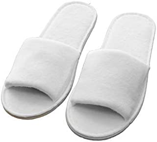 HOME REPUBLIC 1 Pair Slipper Disposable Slipper of White Towelling Hotel Open Toe Spa Slippers Terry Spa Guest Shoes for Men and Women