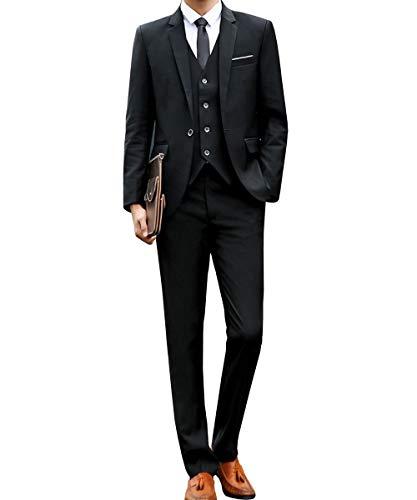 [chorbmark] (L, ブラック)セットアップ スーツ スリーピース スリムタイプ スーツケース スーツカバー ベルト ドレスシューズ ブラシ スーツハンガー 持ち運び 面接 アパレル 肩パット ずぼん パンツ カフス スキニー