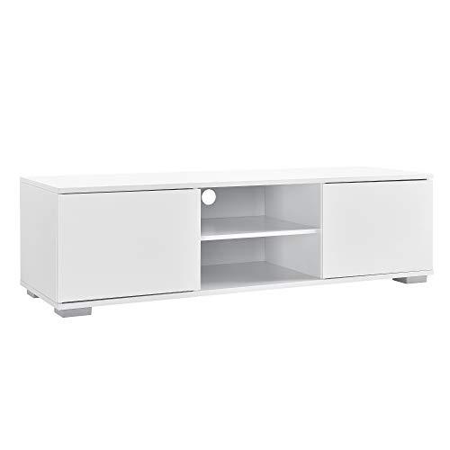 [en.casa] Fernsehtisch - Weiß 34,5x120x40 cm - TV Lowboard Board Fernseher Schrank Unterschrank