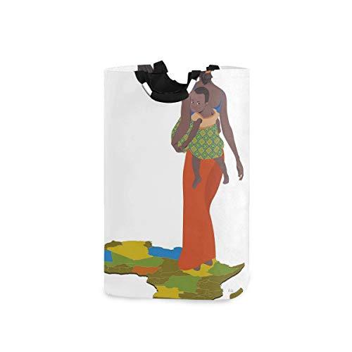 COFEIYISI Wäschesammler Wäschekorb Faltbarer Aufbewahrungskorb,Mutter, die Baby Girl auf Back Africa Country Culture Continent Map trägt,Wäschesack - Wäschekörbe - Laundry Baskets