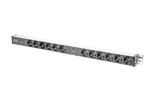 DIGITUS Steckdosenleiste - 12 Abgriffe - 250VAC - 50/60Hz - 2x 16A - Mit 2 getrennt gesicherten Zuleitungen