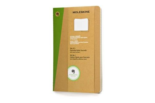"""Moleskine Evernote Journal with Smart Stickers, Soft Cover, Large (5"""" x 8.25"""") Ruled/Lined, Kraft Brown (Set of 2)"""