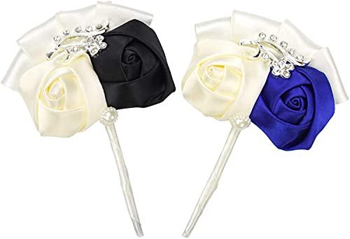 Nanaborn Lapel Rose Flower Pins for Men Jacket Suit (2PCS)