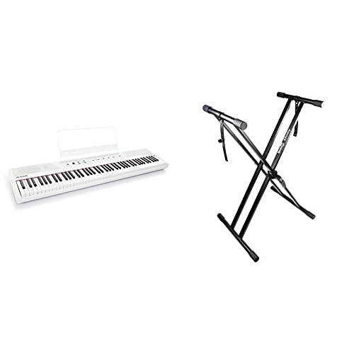 Alesis Recital White - 88-Tasten Einsteiger Digital Piano/E Keyboard mit halbgewichteten Tasten,3-Monatsabo Skoove, Weiß & RockJam xfinity doppelstrebiger pre hochparametrierbares Keyboard-Ständer