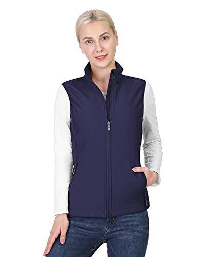 Outdoor Ventures Women's Lightweight Softshell Vest Windproof Fleece Lined Zip Up Sleeveless Jacket for Running Hiking Golf Deep Purple