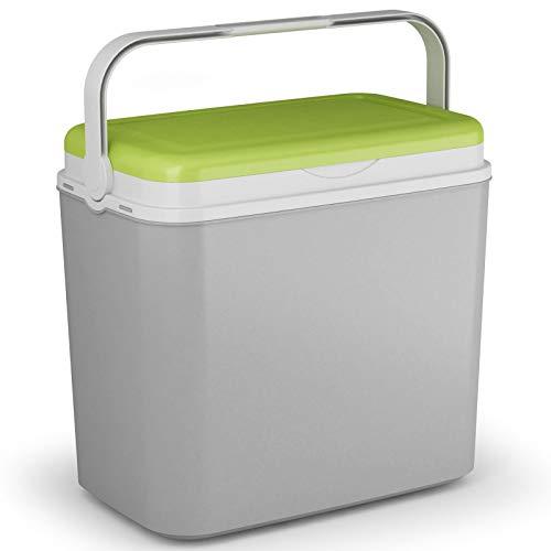 Kühlbox Kühltasche Kühlbehälter mit Deckel für Getränke Flaschen Speisen groß 36 Liter grau grün Camping Auto LKW Sport Garten Reise Strand Picknik Caravan Wandern robust passiv Kühlboxen Styropor
