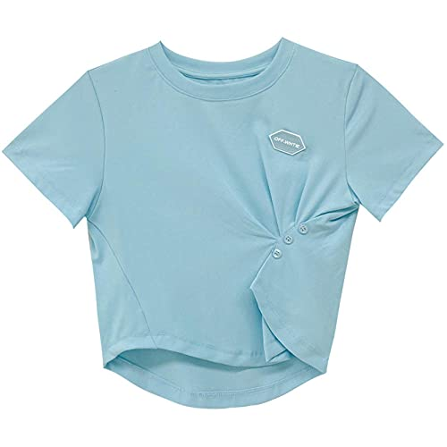 Cuello Redondo Camiseta De Corta Niña Manga Corta Camisetas Cropped Mujer con Cielo Azul Camisetas Crop Nina S