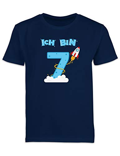 Shirtracer Ich bin Schon 7 Geburtstag Rakete Jungen T-Shirt (Navy, 7-8 Jahre 122-128 cm)