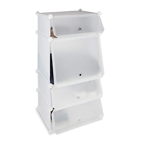 Meuble Chaussures Plastique étagère 4 casiers système Plug-in Portes Armoire HxlxP: 91 x 49 x 36,5 cm, Blanc