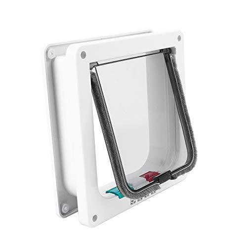 Katzentüren, 6,15 Zoll 4-Wege-Verriegelung Flache Haustiertür aus Kunststoff für Innenfenster-Wandaußentüren