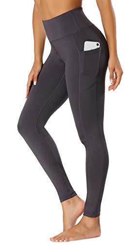 FASHION BOUTIQUE Beelu Damen Leggings Lange Yoga Pants Blickdicht Hohe Taille Fitnesshose mit Taschen,L, Grau