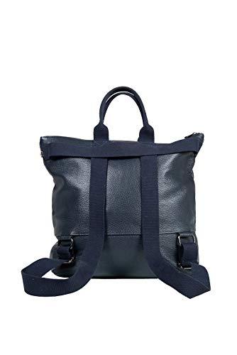 Mochila de Cuero Genuino para Mujer y Hombre - Convertible de 3 Maneras - Bolsas Casuales de Viaje para el día a día (Azul Marino)