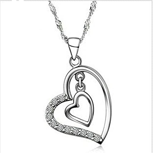 925 Sterling Silver Plated Double Heart Pendant Necklace Wedding Party P007