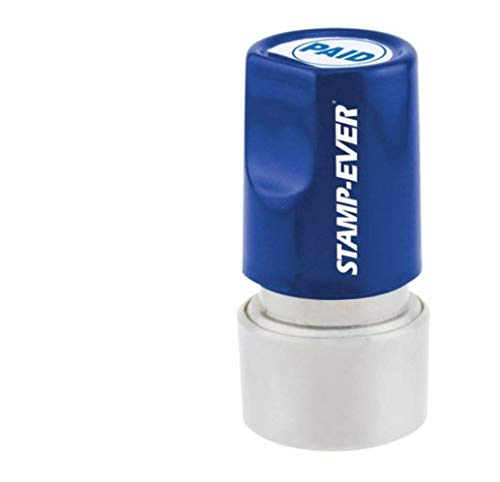 Stamp-Ever Pre-Inked Round Message Stamp, Paid, Stamp Impression Size: 3/4-Inch Diameter, Blue (5976)
