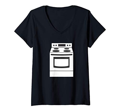 Damen Ofen Kochfeld Küchengerät T-Shirt mit V-Ausschnitt